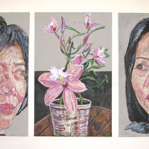 "FLORIOGRAPHY QUARTET No. 3, 2020, oil pastel on canvas, Triptych/ 48"" x 102"" ( 121.9 x 258.8 cm) Coll. Ms EWunju Jeong, Stratford PE"
