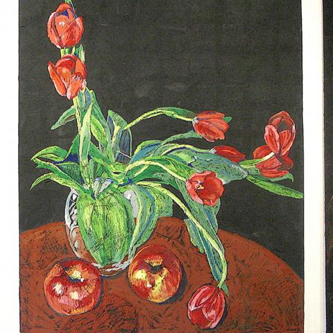 "FLORIOGRAPHY QUARTET No.1, 2015, oil stick/pastel on Meranti,  Total Dim/ 48"" x 120"" (121.9x304.8cm) Coll/ Confederation CXentre Art Gallery, Charlottetown, PE"