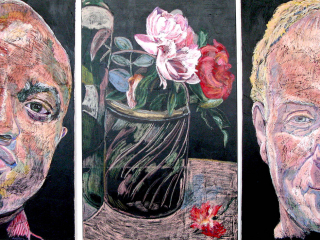"FLORIOGRAPHY QUARTET No.2, 2020, oil pastel on fresco slip on canvas, triptych, total dim/ 48"" x 102"" (121.9 x 258.8 cm) Coll. Dr. Don Stewart, Charlottetown, PE"