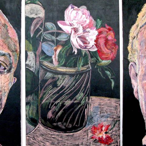 "FLORIOGRAPHY QUARTET No.2, 2020, oil pastel on fresco slip on canvas, triptych, total dim/ 48"" x 102"" (121.9 x 258.8 cm) Coll. Dr. Don Stewart, Charlottetown, PE"