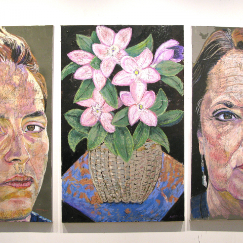 "FLORIOGRAPHY QUARTET No.4, 2020, oil pastel on canvas, Tryptich 48"" x 102"" ( 121.9x258.8cm) Coll.Epewkwitk Assembly of Councils, Charlottertown, PE"