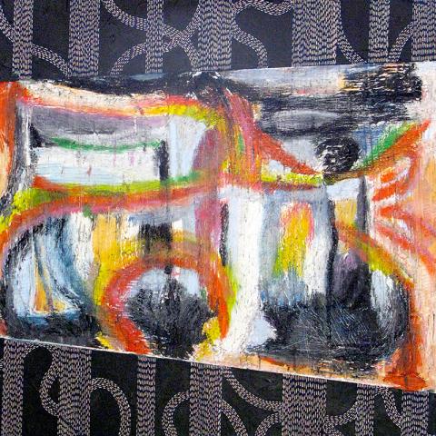 UNTITLED (1/21) 2021, opil pastel, gel pen on fresco slip on canvas, 60.9 cm sq.