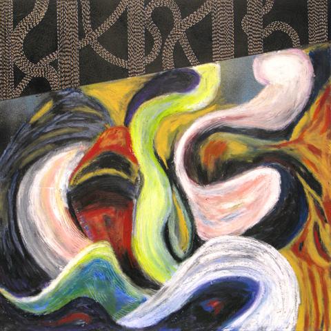 UNTITLED (11/20) 2020, oil stick, gel pen on fresco slip, on canvas, 60.9 cm sq.